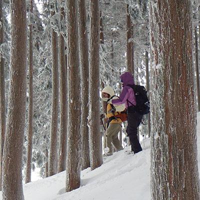 スノーシューは雪さえあればどんなところでも歩けます。